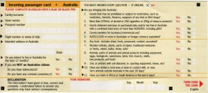 Australia Immigration Card