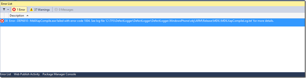 MdilXapCompile code 1004 - error windows cropped