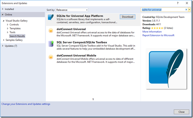SQLite_UWP_Extension